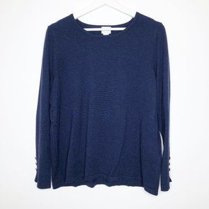 CHICO'S Blue Long Sleeve Lightweight Sweater